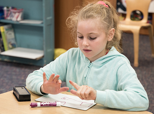 Girl Counting Fingers for Math