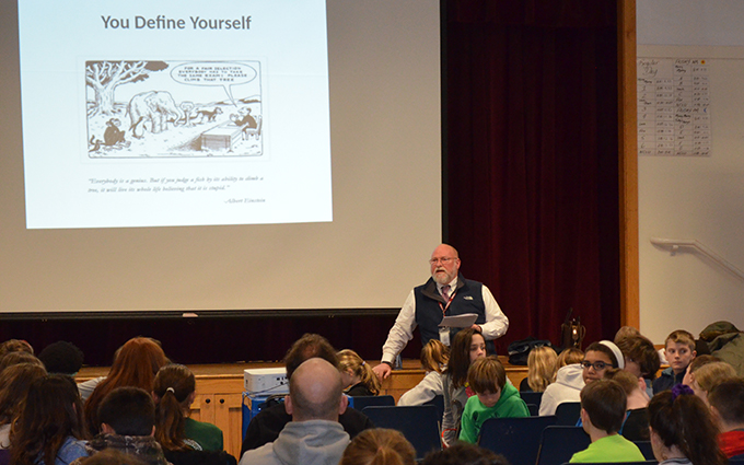 Alum, Andrew Gray, presents to Middle School students during Multiple Intelligences Day